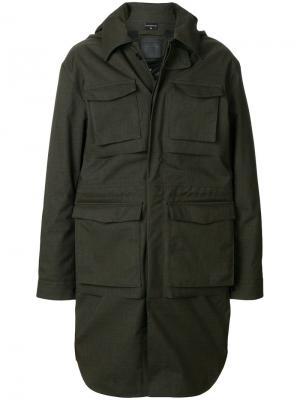 Классическое приталеннное пальто Norwegian Rain. Цвет: зелёный
