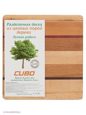 Доска разделочная Фантазия красная линия мини CUBO. Цвет: светло-коричневый, темно-бежевый