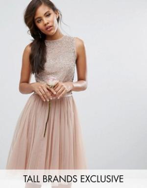 Maya Tall Платье миди без рукавов с пайетками и бантом сзади. Цвет: розовый