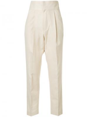Прямые брюки Bambah. Цвет: телесный