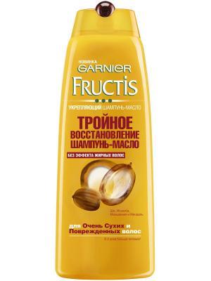 Шампунь-масло  Fructis, Тройное Восстановление , для очень сухих и поврежденных волос, 400 мл Garnier. Цвет: белый