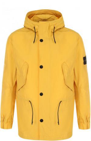 Куртка на молнии с капюшоном Stone Island. Цвет: желтый