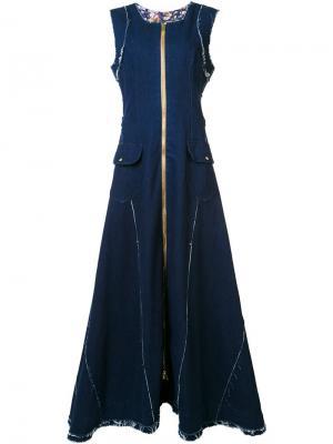 Джинсовое платье макси на молнии Natasha Zinko. Цвет: синий