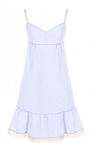 Хлопковое платье с оборкой и завышенной талией Marc Jacobs. Цвет: светло-голубой