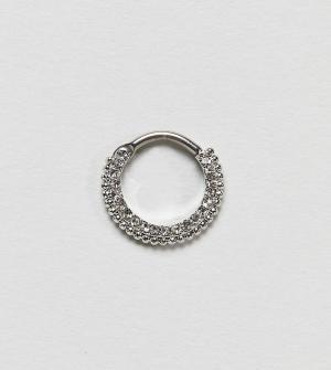 Kingsley Ryan Серебряное кольцо для пирсинга со стразами. Цвет: серебряный