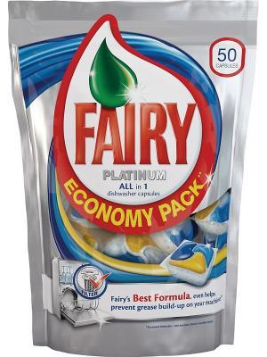 Средство для мытья посуды в капсулах посудомоечных машин Platinum All-in-1, 50шт Fairy. Цвет: серебристый
