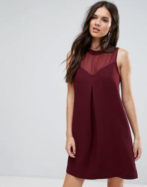 BCBG MaxAzria Коктейльное платье с вырезом сердечком и сетчатой вставкой. Цвет: красный