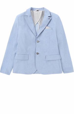 Однобортный пиджак из хлопка Giorgio Armani. Цвет: голубой