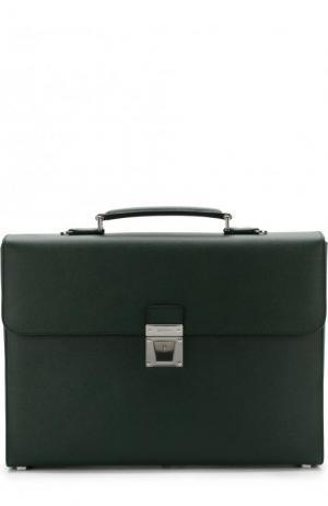 Кожаный портфель с плечевым ремнем Serapian. Цвет: темно-зеленый