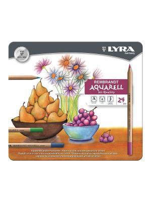Rembrand aquarell художественные карандаши акварельные 24 цв в метал коробке Lyra. Цвет: белый, оранжевый, черный