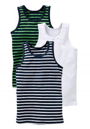 Майка, 3 штуки. Цвет: темно-синий/зеленый/белый