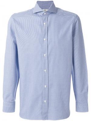 Рубашка в мелкую клетку Borrelli. Цвет: синий