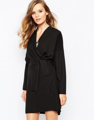 The Laden Showroom Платье-кимоно с запахом X Mirror. Цвет: черный