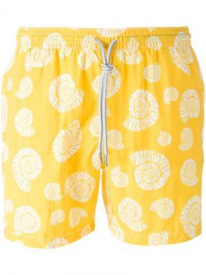 Плавательные шорты с принтом морских раковин Capricode. Цвет: жёлтый и оранжевый