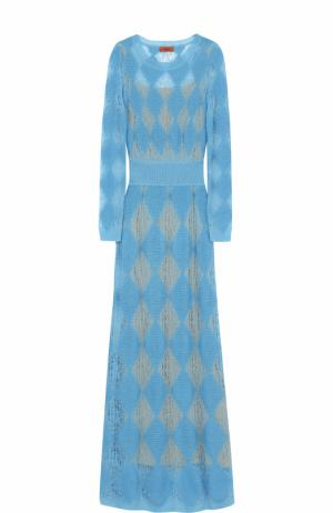 Приталенное вязаное платье-макси с длинным рукавом Missoni. Цвет: голубой