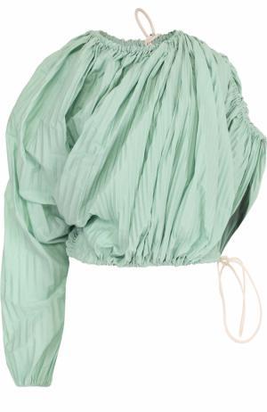 Плиссированный топ асимметричного кроя с драпировкой Marni. Цвет: светло-зеленый