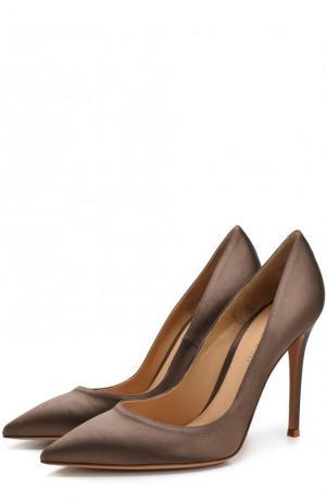 Атласные туфли Gianvito 105 на шпильке Rossi. Цвет: коричневый