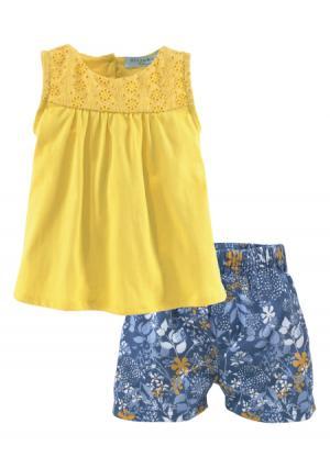Комплект, 2 части: топ + шорты KLITZEKLEIN. Цвет: желтый+с рисунком
