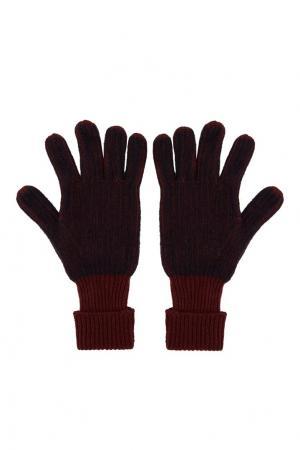 Бордовые вязаные перчатки Gucci. Цвет: multicolor