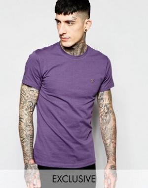 Farah Эксклюзивная футболка слим с логотипом F. Цвет: фиолетовый