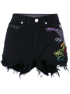 Рваные шорты с вышивкой Marcelo Burlon County Of Milan. Цвет: чёрный