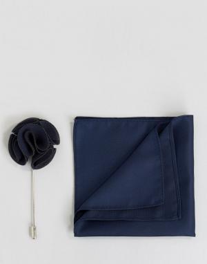Gianni Feraud Набор из платка для нагрудного кармана и булавки лацкана Fe. Цвет: темно-синий