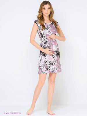 Ночная сорочка для беременных и кормления 40 недель. Цвет: светло-серый, бледно-розовый