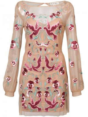 Embroidered sheer dress For Love And Lemons. Цвет: телесный
