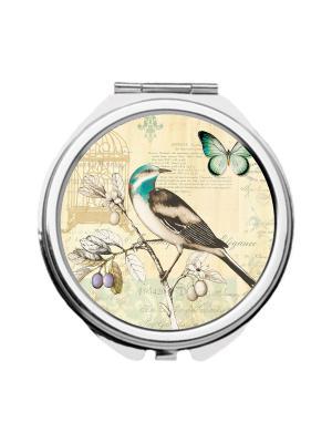 Зеркальце карманное Птица и бабочка Chocopony. Цвет: бежевый, бирюзовый, темно-серый