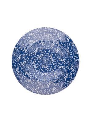Набор тарелок десертных 19 см СИНИЕ УЗОРЫ 6 шт Miolla. Цвет: синий, белый