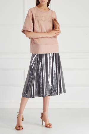 Однотонная юбка VIKTORIA IRBAIEVA. Цвет: серебряный
