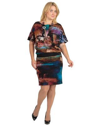 Платье Alego. Цвет: черный, лазурный, рыжий