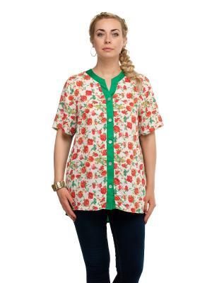 Блуза OLSI. Цвет: белый, зеленый, красный