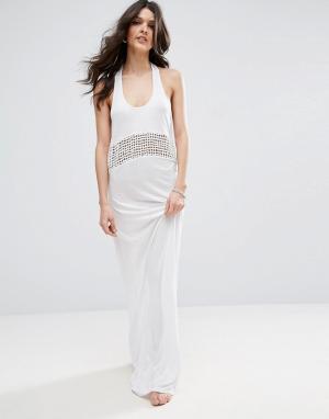 ASOS Пляжное трикотажное платье макси с решетчатой вставкой. Цвет: белый
