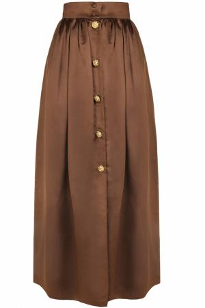 Шелковая юбка (80-е) Escada by Margaretha Ley. Цвет: коричневый