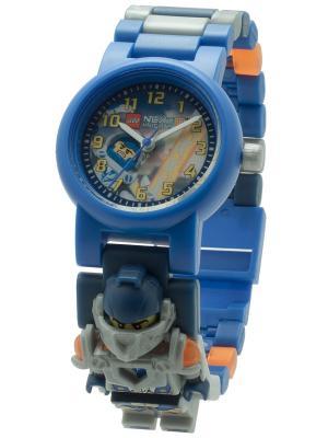 Часы наручные аналоговые LEGO Nexo Knights с минифигурой Clay на ремешке. Цвет: синий, серебристый, белый