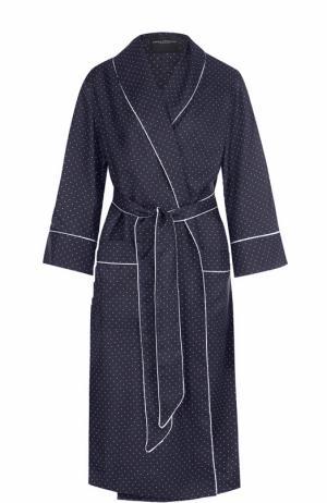 Шелковое платье в пижамном стиле с поясом Erika Cavallini. Цвет: синий