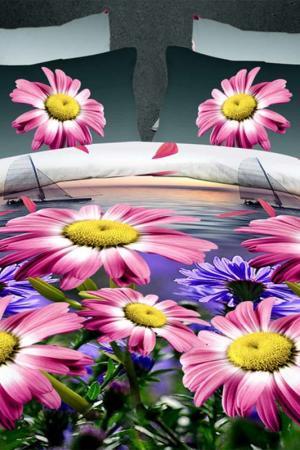 Постельное бельё 2 сп 70x70 BegAl. Цвет: розовый, зеленый, желтый