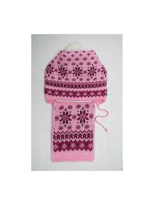 Шапка, шарф Tricotier. Цвет: розовый, фуксия