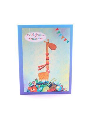 Авторская обложка для свидетельства о рождении Жирафенок Dream Service. Цвет: синий
