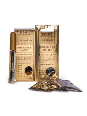 Набор Изысканные масла: Восстановление ресниц (12 мл) и волос (3х15 DNC. Цвет: прозрачный, светло-желтый