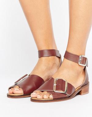 Hudson London Кожаные сандалии на плоской подошве с пряжкой H by. Цвет: красный