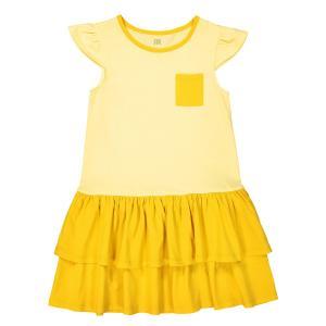 Платье с контрастным карманом 3-12 лет La Redoute Collections. Цвет: желтый,розовый