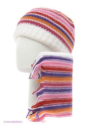 Шапка, шарф Vita pelle. Цвет: белый, розовый, серый