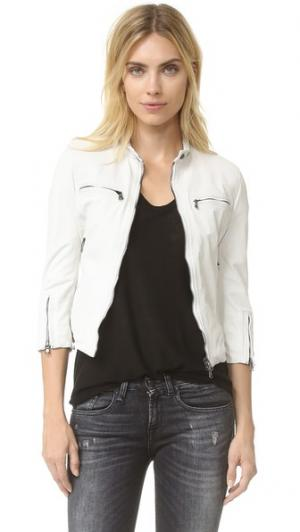 Байкерская кожаная куртка Cafe R13. Цвет: белый