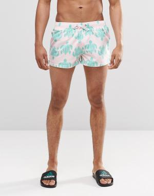 Swells Бирюзовые короткие шорты. Цвет: розовый
