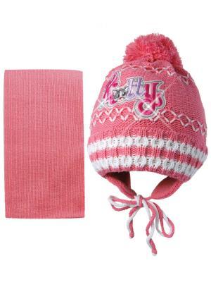 Шапка и шарф Kolad. Цвет: малиновый