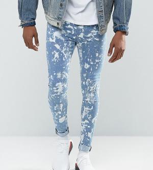 Jaded London Обтягивающие джинсы с пятнами краски. Цвет: синий