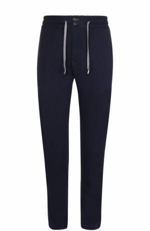 Хлопковые брюки свободного кроя Cortigiani. Цвет: синий