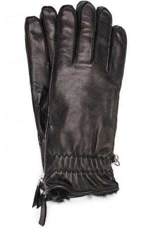 Кожаные перчатки с меховой подкладкой Dsquared2. Цвет: черный